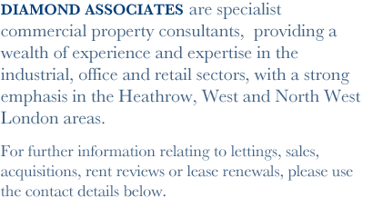 Diamond Associates are specialist commercial property consultants,  providing a wealth of experience and expertise in the industrial, office and retail sectors.